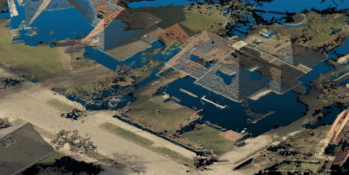 Puntenwolk uit luchtfoto: detail
